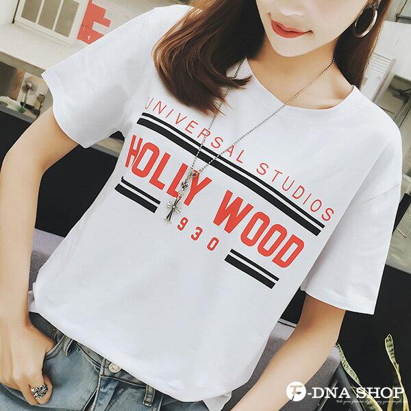 F-DNA★HOLLYWOOD撞色英文圓領短袖上衣T恤(3色-M-2XL)【ET12715】 1
