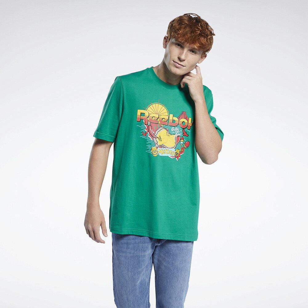 【領券最高折$300】Reebok Classics SOUVENIR 男裝 短袖 T恤 墨西哥 度假 純棉 綠【運動世界】GN3663