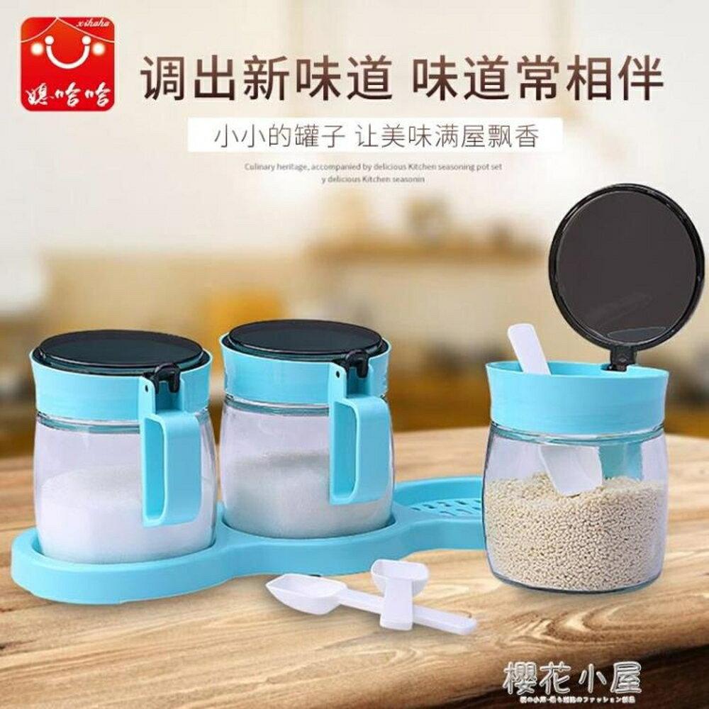 媳哈哈創意廚房用品玻璃調味罐套裝調味家用單個鹽罐辣椒調料瓶裝QM林之舍家居