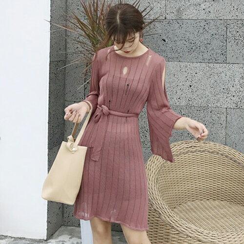 短袖洋裝 鏤空 針織 罩衫裙 露肩 七分袖 連身裙~HM8912~ BOBI 9  14