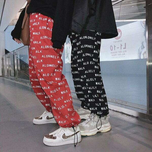 FINDSENSEG6韓國時尚春夏新款港風休閒褲情侶裝潮流嘻哈寬鬆束腳褲男女休閒長褲