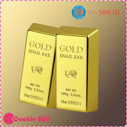 韓國 The Saem 24K 細緻 保濕 黃金 蝸牛 萃取 洗面皂 精華 清潔 早晚 玻尿酸 100g *餅乾盒子*