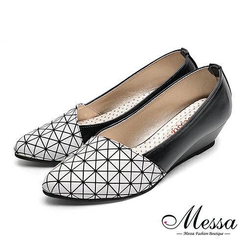 【Messa米莎專櫃女鞋】MIT經典美型壓紋拼接斜口楔型包鞋-白色