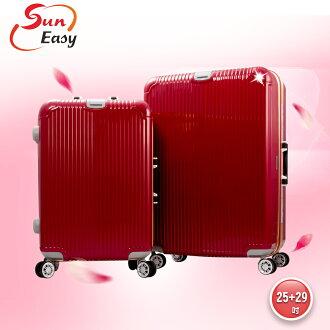 【SunEasy生活館】SunEasy頂級旗艦鋁框硬殼行李箱29吋(紅)