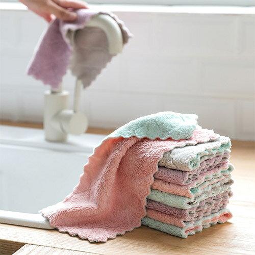珊瑚絨洗碗布不沾油雙色抹布吸水雙面加厚洗碗巾廚房洗碗毛巾