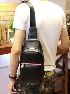 FINDSENSEZ1韓國時尚潮男PU休閒簡約胸包斜挎包斜背包多功能包包單肩包