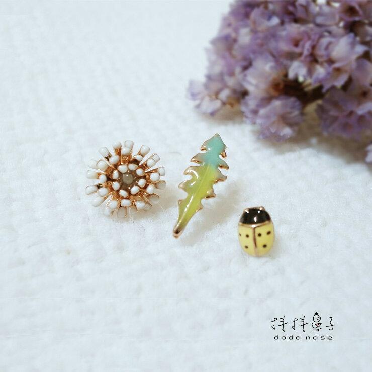 韓國-鋼針 小葉白花瓢蟲(3件組)|耳環