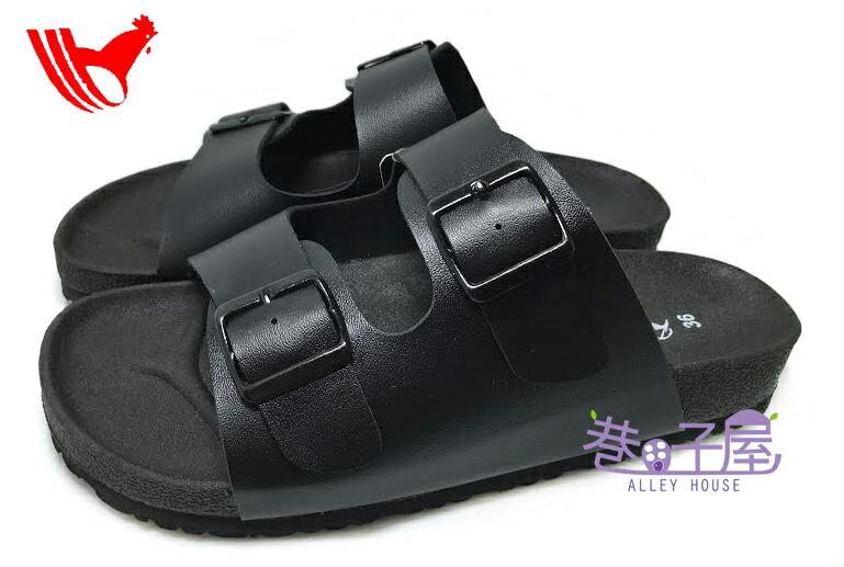 【巷子屋】ROOSTER公雞 女款經典勃肯/柏肯雙釦黑底拖鞋 [2352] 黑色 MIT台灣製造 超值價$198