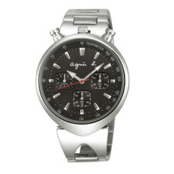 agnes b VD55-KS00D(BX9001X1)小惡魔時尚計時腕錶/黑面39mm
