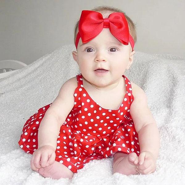 ins 紅底白點 U領 洋裝 小洋裝 無袖 露背 公主 點點 可愛 米妮 生日 周歲 大紅