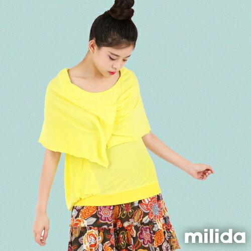 【Milida,全店七折免運】-秋天物語-T恤款-假兩件式披肩衣 0