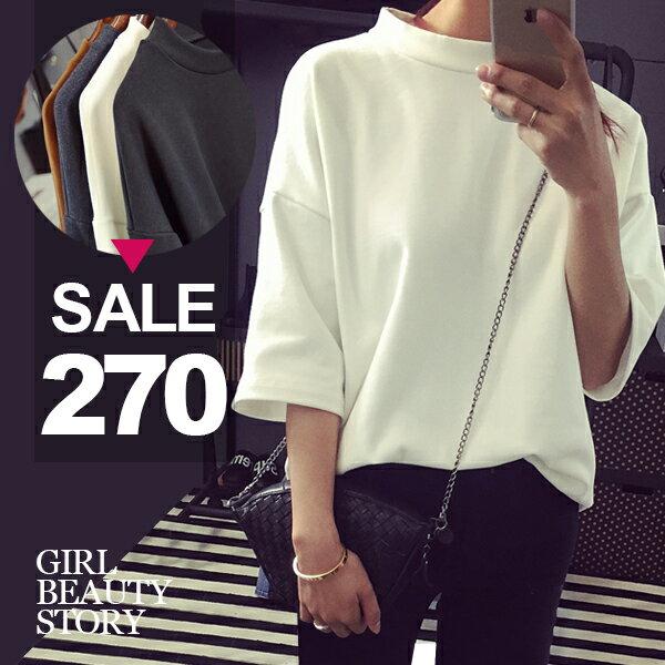 SISI【T6079】休閒率性韓版簡約圓領寬鬆五分袖厚厚棉T恤上衣