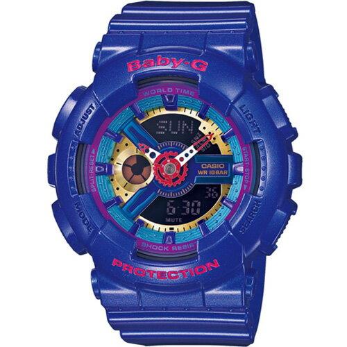 CASIO BABY-G BA-112-2A個性藍彩女孩雙顯流行腕錶/彩色面43.4mm