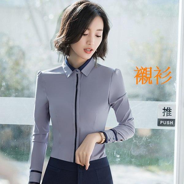 灰姑娘[8X028-PF]襯衫領直線條撞色長袖面試襯衫上衣~