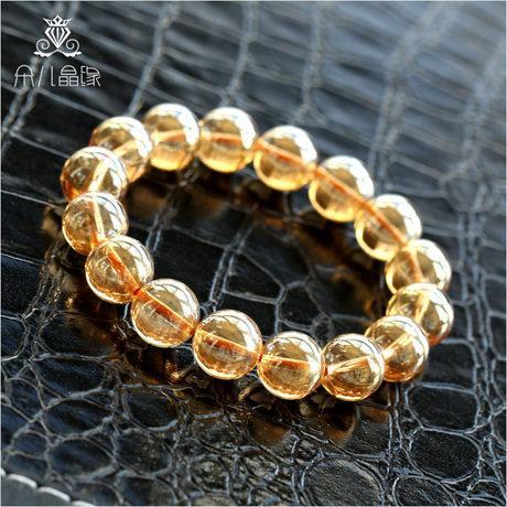 黃水晶手鏈 男女 水晶手鏈 顏色超美 大氣黃晶