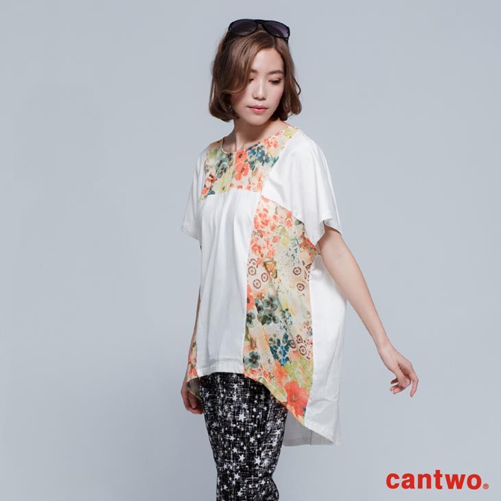 cantwo拼接印花長版T(共二色) 2