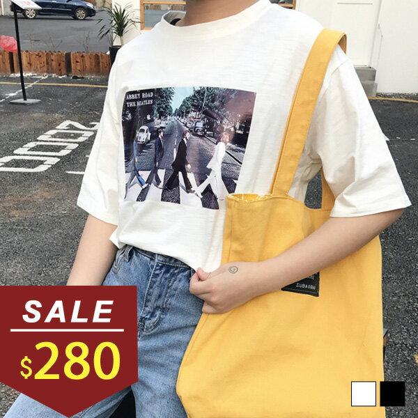 上衣 街景人物印花短袖棉T 小豬兒 MiNi Jule ~SCA71054377~