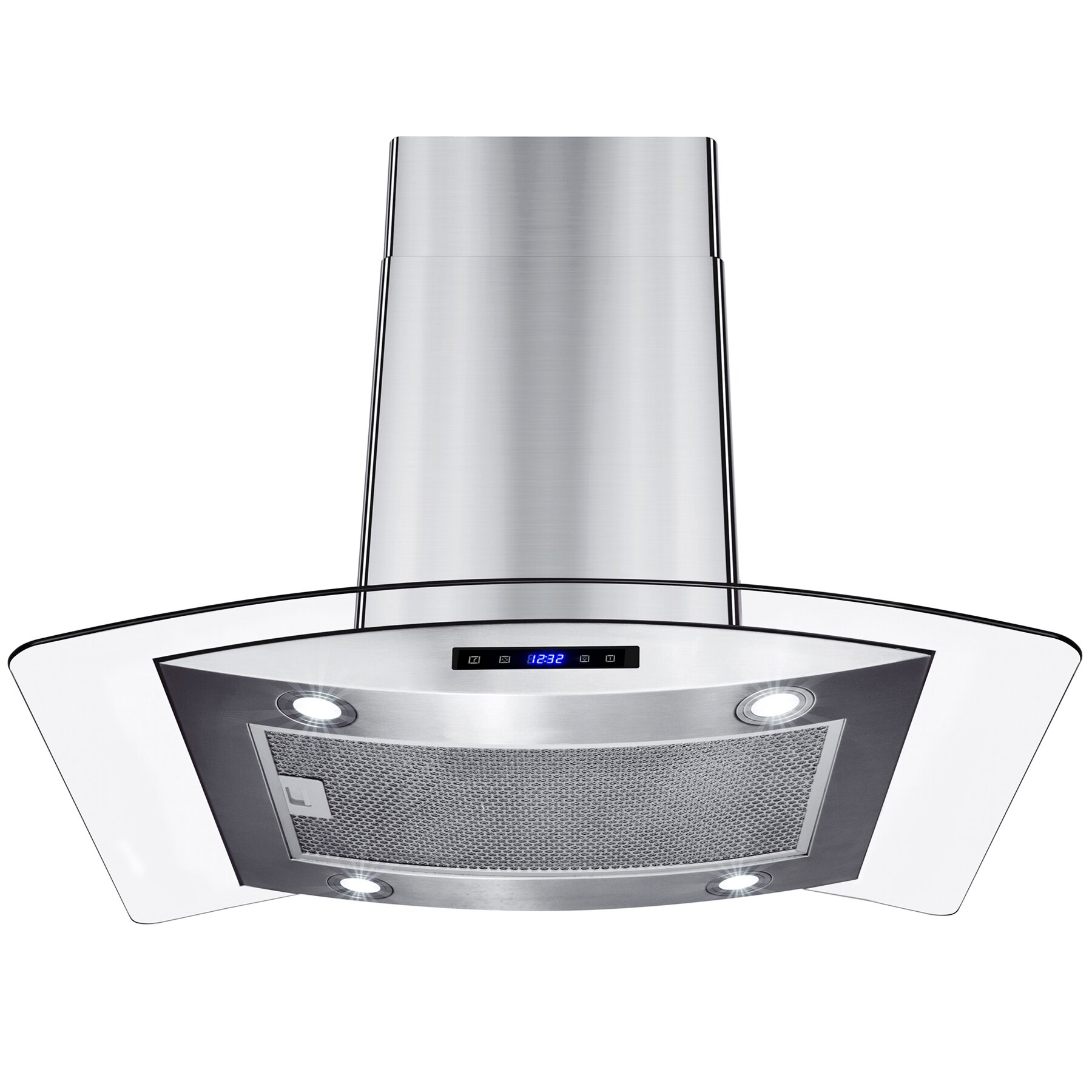 """AKDY 30"""" Island Mount Stainless Steel Tempered Glass Touch Panel Kitchen Range Hood Cooking Fan 3"""