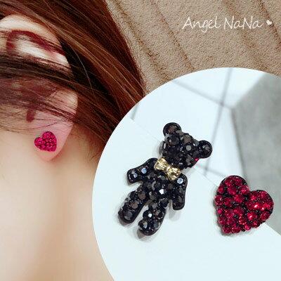 AngelNaNa:銀針耳環-不對稱可愛小熊愛心銀針耳釘【RA0033】