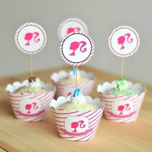 =優生活=烘焙包裝紙杯蛋糕 蛋糕裝飾 插牌圍邊+插牌裝飾 派對用品 兒童生日 彌月蛋糕 收綖蛋糕【韓國女孩】