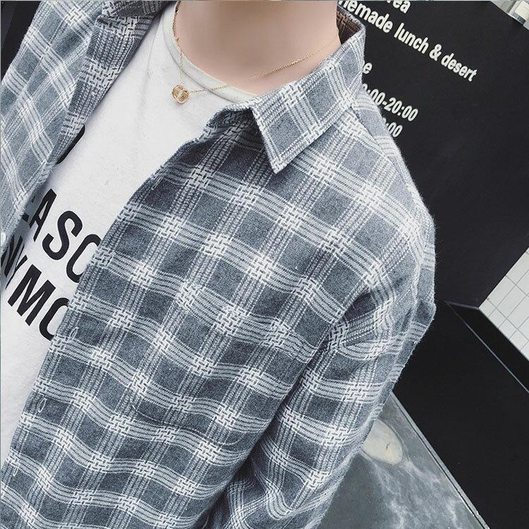 【秋冬優惠款任搭2件888】經典日系質感簡約格子造型男款百搭長袖襯衫 4