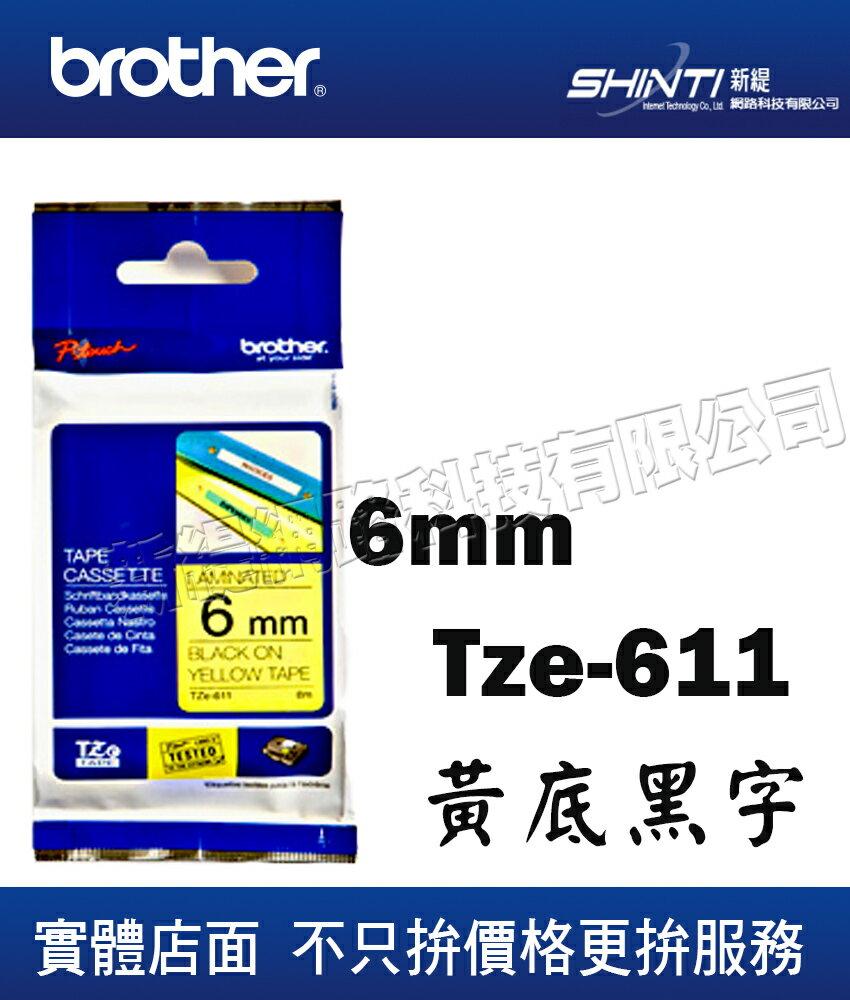 ~1入~Brother 6mm 護貝標籤帶系列 TZ~611 黃底黑字   TZ~111透