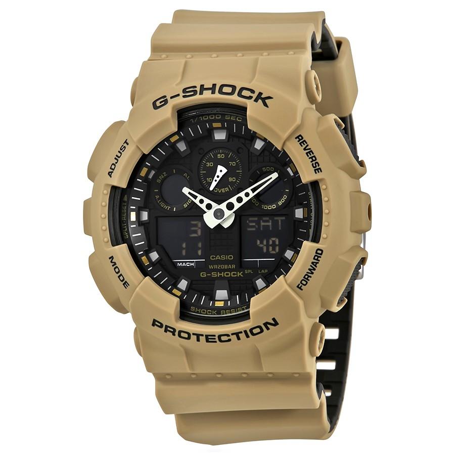 Casio G-Shock Anti-Magnetic Khaki and Black Resin Men's Watch GA100L-8A 0