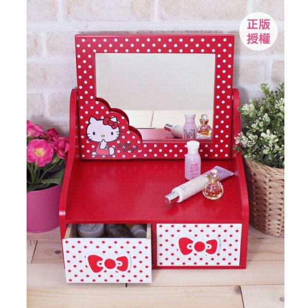 HELLO KITTY 圓點風化妝鏡二抽盒-紅 置物櫃 小物收納 文具收納 三麗鷗 蕾寶 生日   情人節 聖誕 化妝盒