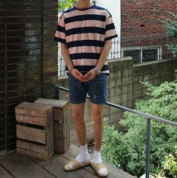 FINDSENSE MD 韓國 休閒 時尚 男 圓領套頭 粉藍拼接條紋 短袖T恤 條紋T
