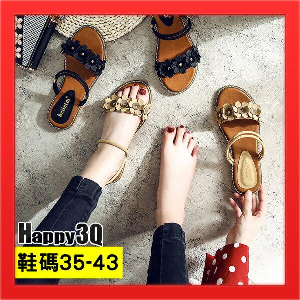 一鞋兩穿百搭小碎花加大碼女鞋42百搭涼鞋平底涼鞋-黑杏35-43【AAA4688】