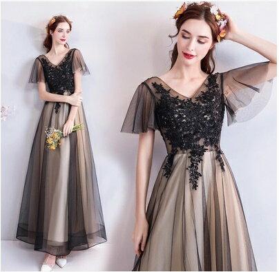 天使嫁衣【AE7118】網紗遮袖蕾絲雙色感氣質禮服˙預購訂製款