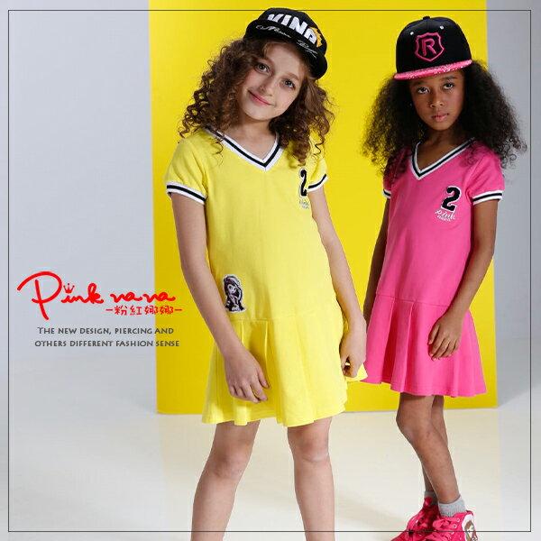 PINKNANA童裝 百摺網球裙 運動風純棉洋裝33186