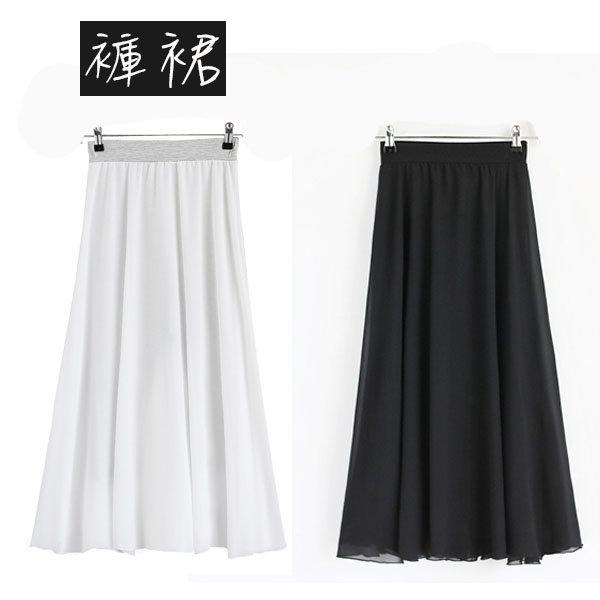 褲裙雪紡拼接莫代爾飄逸假兩件七分褲裙【MZ1708-1】BOBI0419