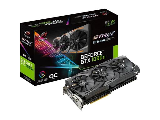 Asus Rog Strix GeForce GTX 1080 Ti Video Graphic Card 1.59 GHz Core - 1.71 GHz Boost Clock - 11 GB GDDR5X - Triple Slot Space Required