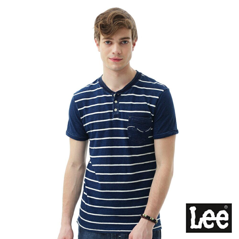 【季末出清4.5折】Lee 短袖T恤 條紋短袖T恤/101+-男款-藍