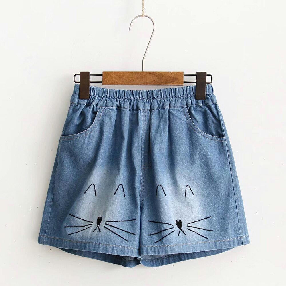 卡通貓咪刺繡百搭牛仔短褲(藍色M~L)*ORead*