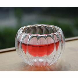 【自在坊】雙層玻璃杯 南瓜款( 50ml) 茶杯 賞茶杯 隔熱品茗茶杯 每個40元