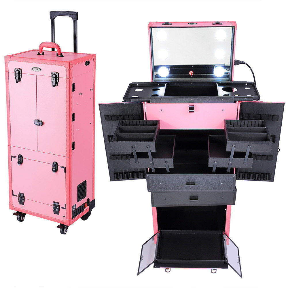 AW® Pro Rolling Cosmetic Multifunction Makeup Case w/ Lights Mirror Telescopic Legs 4 Wheels