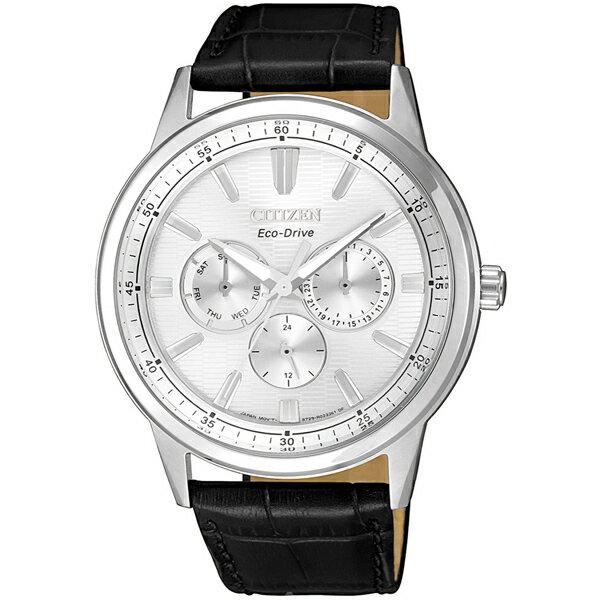 大高雄鐘錶城 CITIZEN星辰 BU2071-01A 光動能三眼潮流時尚腕錶/ 白面+黑 44mm