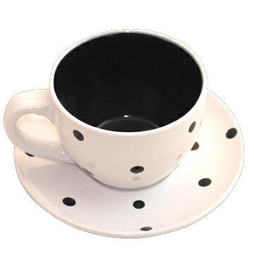 咖啡杯^~黑白點點陶瓷咖啡杯盤組~黑白點點相間 咖啡杯盤組~~曉風~