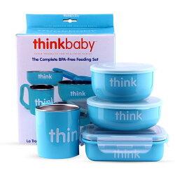 美國 Thinkbaby不鏽鋼餐具4件組-馬卡龍藍