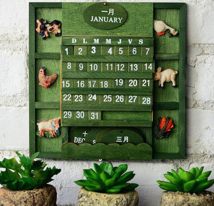 美式鄉村復古木質萬年月曆 掛曆 日曆 擺飾 園藝