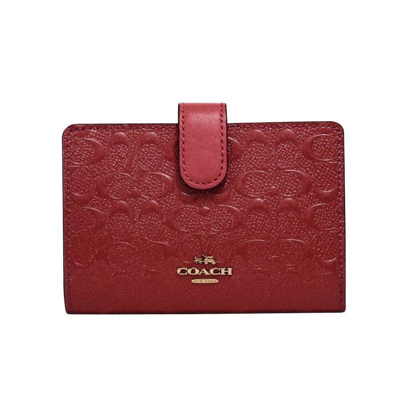 (Smile) COACH 25937 女包女士短款漆皮按扣拉鏈錢包錢夾