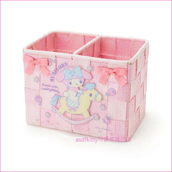 asdfkitty可愛家☆美樂蒂編織置物籃-S-收納籃玩具收納籃文具收納籃-日本正版商品
