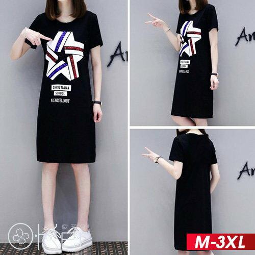 亮片條紋星星印花短袖T恤連衣裙M-3XLO-ker歐珂兒166828-1