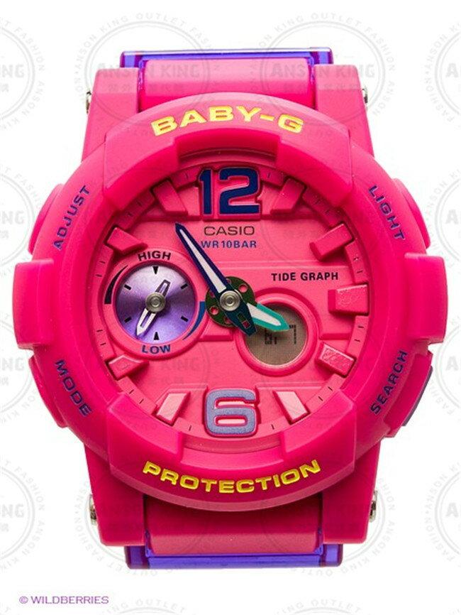 國外代購CASIO BABY-G 衝浪潮汐月相 BGA-180-4B3 枚粉撞色 雙顯 防水 手錶 腕錶 情侶錶