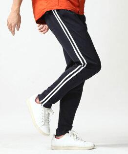 運動束口褲NAVY×WHITE雙線