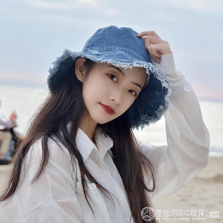 春夏季帽子女網紅牛仔破洞漁夫帽甜美可愛日系顯臉小防曬帽太陽帽