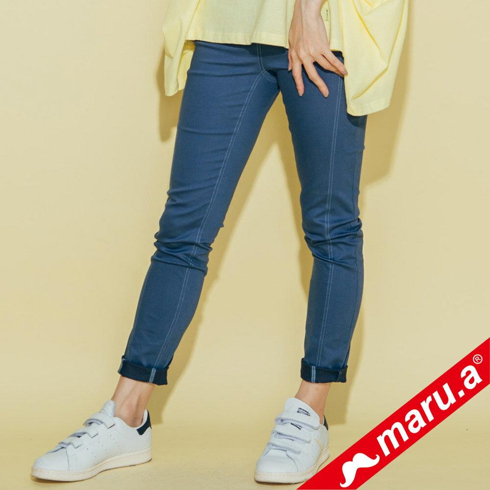 【maru.a】彈性貼腿後印花內搭褲(3色)8325311 3