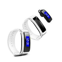 腕帶耳塞式智慧手環藍芽耳機通話接電話聽歌運動計步手錶男女 韓語空間